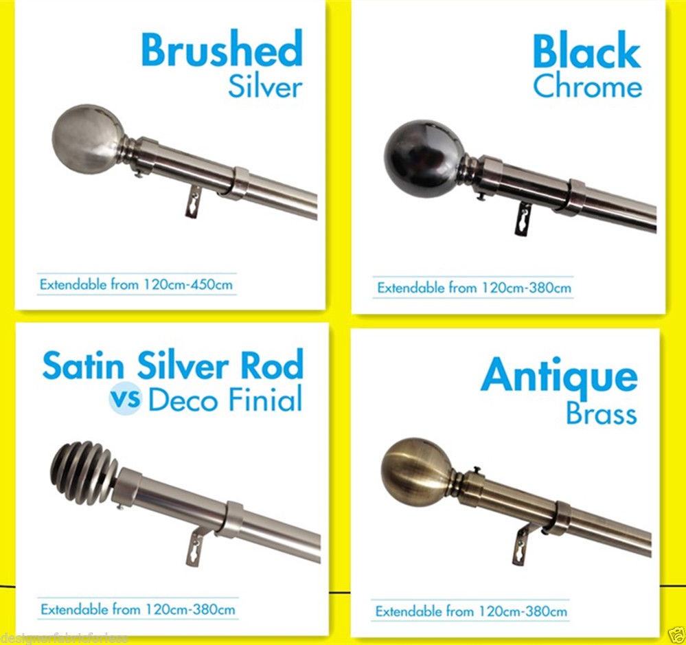 Curtain rod styles - Curtain Rod Finial Set Extendable From 190cm 380cm 4 Colors Styles Curtain Rods Products Consol Blinds Homes
